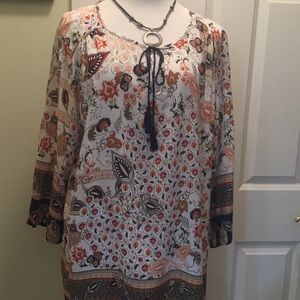 Lucy & Laurel brown/tan/navy/rust/gold tunic
